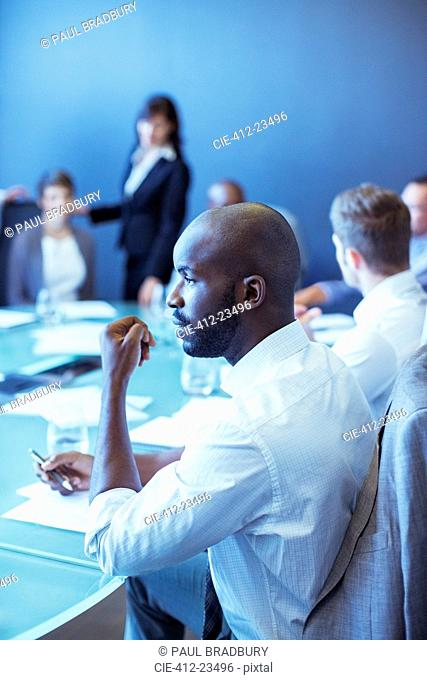 Businessman during business meeting in conference room