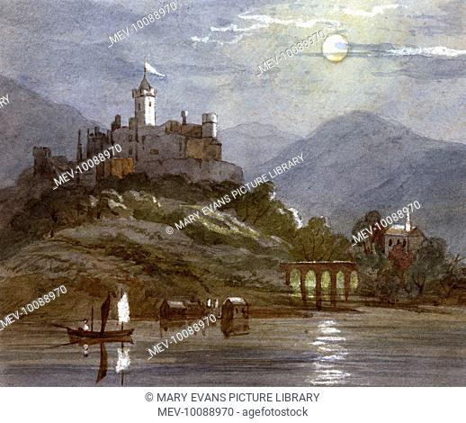 A castle sits on the top of a hill. A flag flies from the turret and fishing boats sail in the water below a full moon