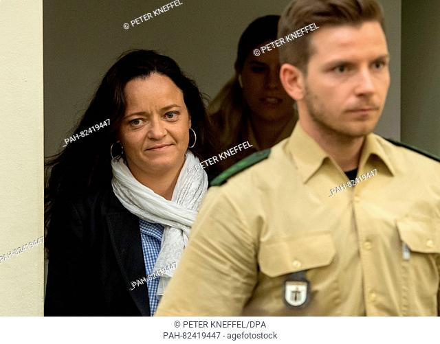 Defendant Beate Zschaepe arriving at the court room of the upper regional court in Munich, Germany, 1 August 2016. The trial concerning the homicides and terror...