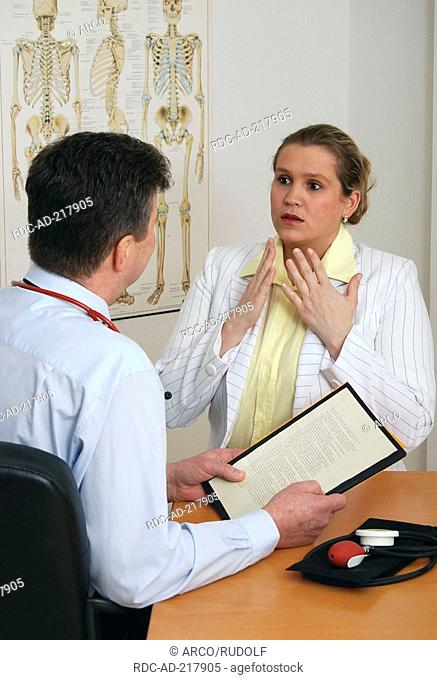 Patient at doctor, file card, blood pressure meter, anatomical image sceleton