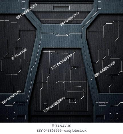 scifi wall. carbon fiber wall and circuits. metal background and texture 3d illustration. technology concept