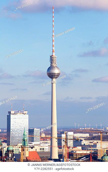 Berlin-Mitte cityscape with the landmark Fernsehturm tv tower in the center in Berlin, Germany