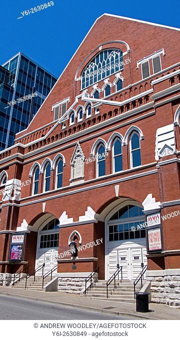 Original front doors of the Ryman Auditorium originally a tabernacle Nashville Tennessee USA