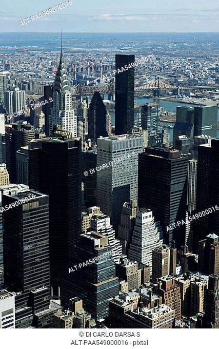 Aerial view of Chrysler Building towering above surrounding buldings, New York City