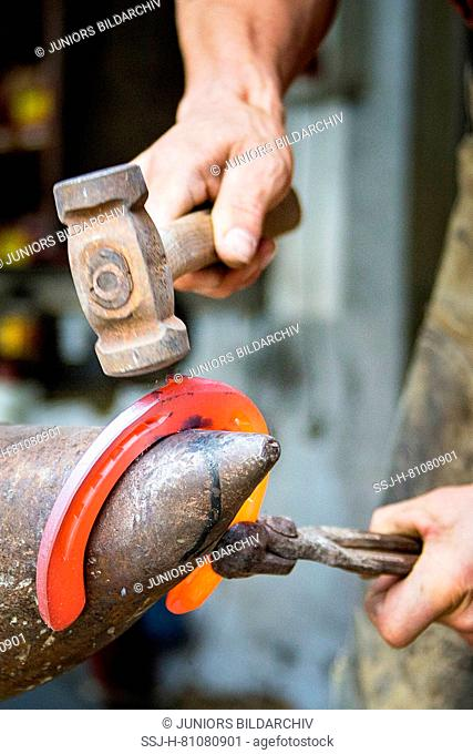 Farrier bending a red-hot horseshoe in the desired shape. Austria