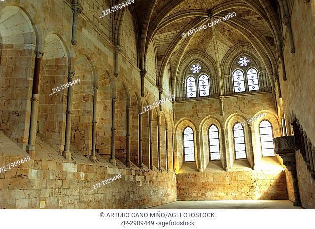 The Cistercian Monastery, XIIth-XVIth centuries. The Romanesque and Gothic refectory, XIIth century. Santa Maria de Huerta, Soria province, Spain