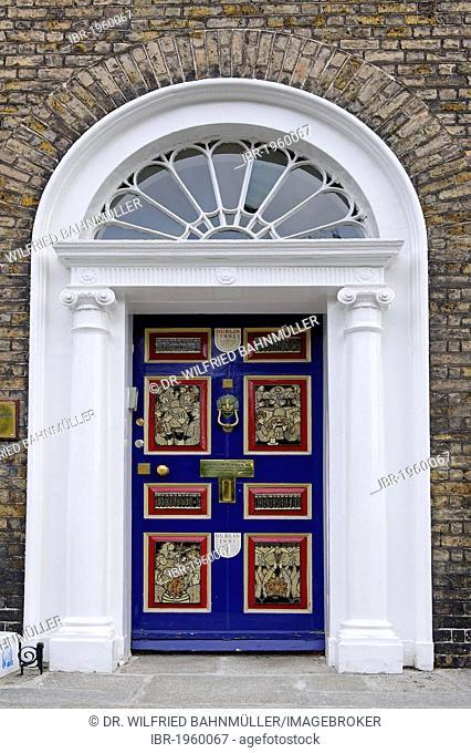 Colourful front door of a terraced house near Merrion Park, Dublin, Republic of Ireland, Europe
