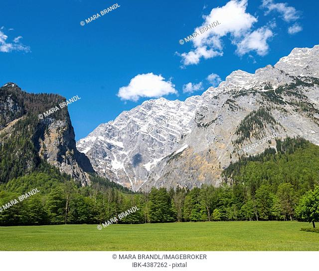 View of eastern slope of the Watzmann, snow melt, Berchtesgadener Land, Upper Bavaria, Bavaria, Germany