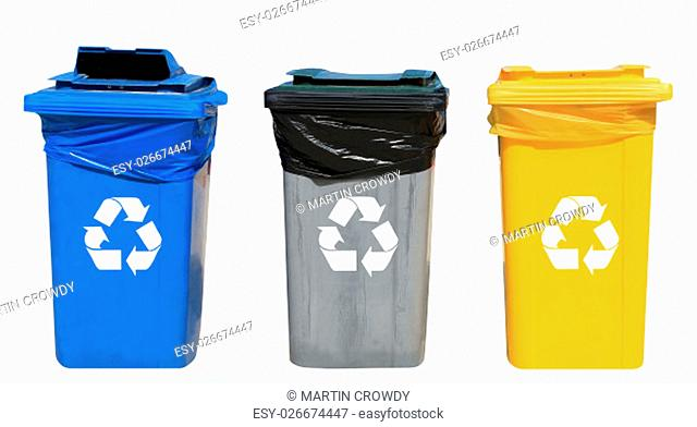 Set of blue, gray and yellow recycling bins on a white background