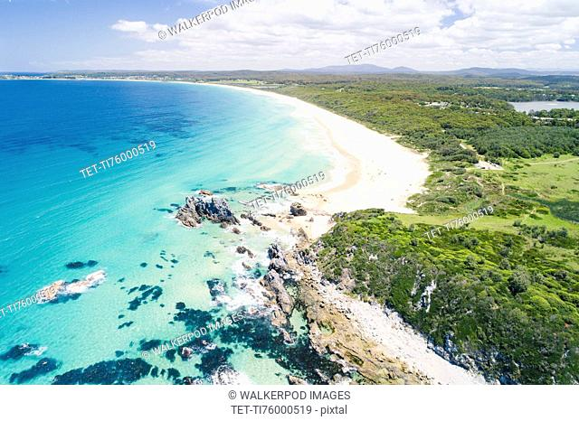 Australia, New South Wales, Bermagui, Landscape with forest and beach