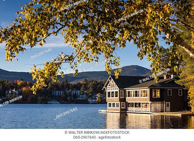 USA New York Adirondack Mountains Lake Placid Club Boathouse