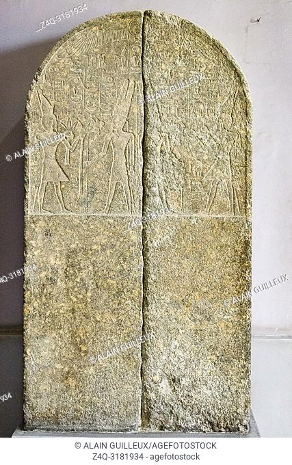 Egypt, Cairo, Egyptian Museum, stele in two fragments, Amenophis III offers flowers and Nu vases (wine) to Amun