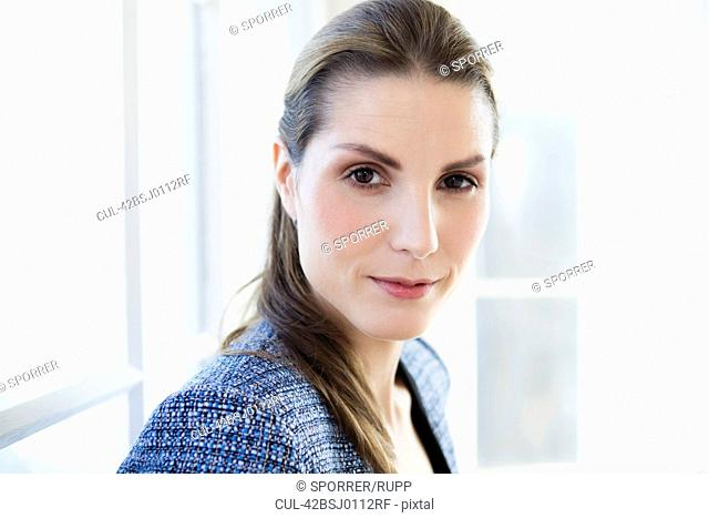 Close up of businesswomans face