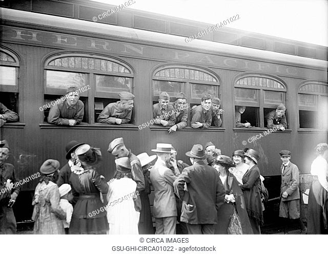 U.S. Army Soldiers on Train Returning Home from War, Washington DC, USA, circa 1919