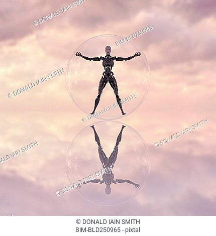 Robot in transparent glass sphere