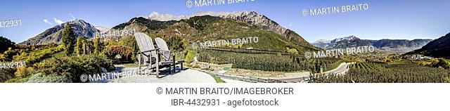 Observation platform, Trauttmansdorffer Throne, view of Merano basin,Texel Group, Merano, Algund, South Tyrol Province, Italy