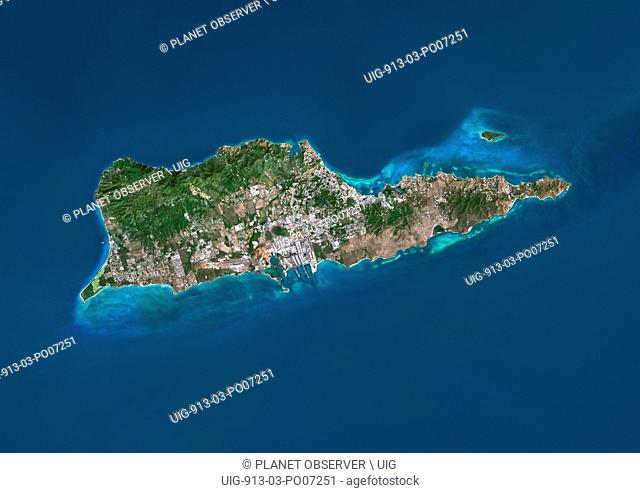 Satellite view of Saint Croix, US Virgin Islands. This image was compiled from data acquired by Landsat satellites