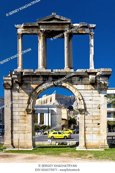 Arch of Hadrian with Acropolis on background