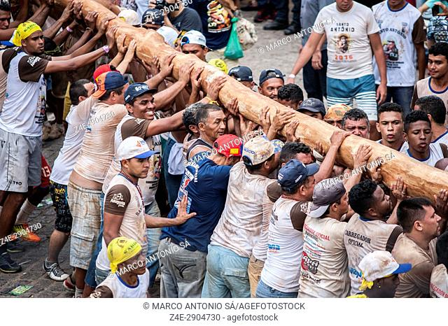Feast of Saint Anthony - Transfer and raising of the stick of the flag of Saint Antonio - Barbalha - Ceará - Brazil
