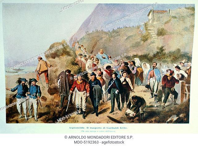 Giuseppe Garibaldi Wounded in Aspromonte (Giuseppe Garibaldi ferito in Aspromonte), 19th Century, engraving