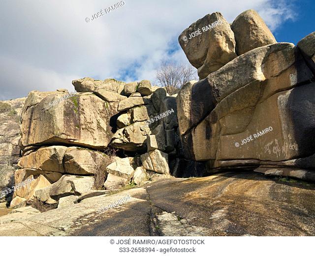 Cliffs in The Tranco. The Pedriza. Sierra de Guadarrama. Manzanares el Real. Madrid. Spain. Europe