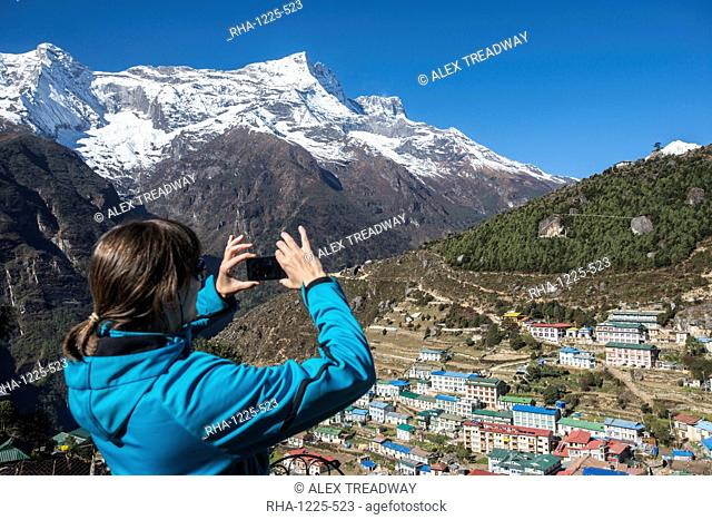 Namche Bazaar is the last town during the trek to Everest Base Camp, seen here with Kongde peak, Khumbu Region, Himalayas, Nepal, Asia