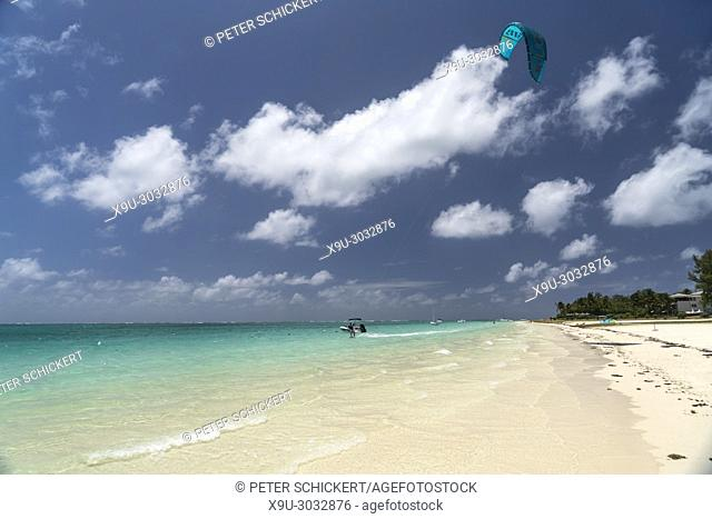 kite surfer at Pointe d'Esny beach, Mahebourg, Grand Port, Mauritius, Africa