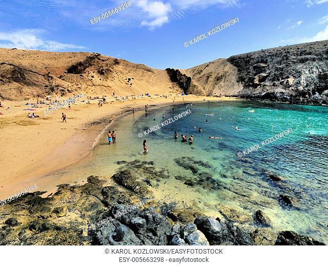 Papagayo Beach on the island Lanzarote, Canary Islands, Spain