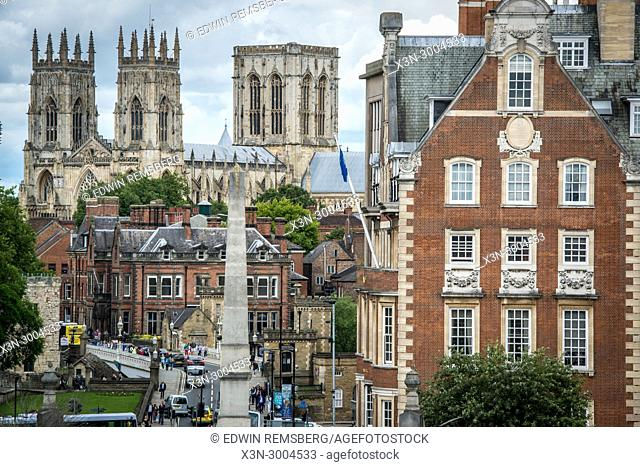 View of the York Minster towering over the historic city of York from the city walls, Yorkshire, United Kingdom