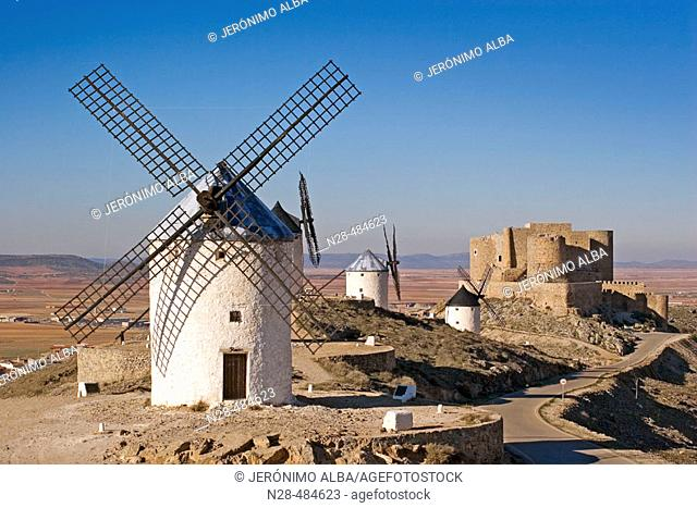 Windmills and castle. Consuegra. Toledo province. Castilla-La Mancha. Spain