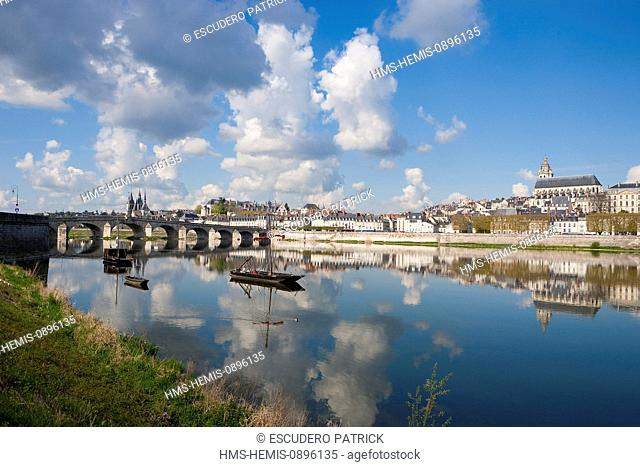France, Loir et Cher, Loire Valley, listed as World Heritage by UNESCO, Blois, view over the city and Pont Jacques Gabriel from the riverbanks of the Loire...