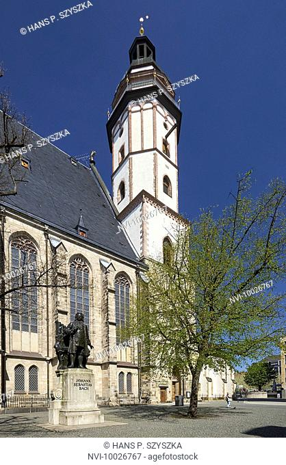 Bach Monument in front of St. Thomas Church in Leipzig, Saxony, Germany