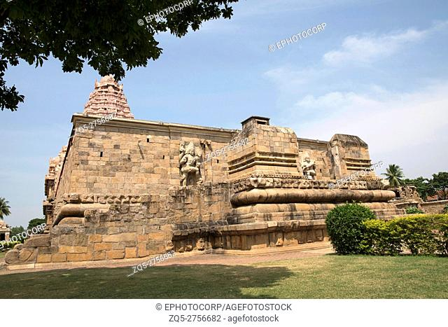 Entrance to the mahamandapa, Brihadisvara Temple, Gangaikondacholapuram, Tamil Nadu, India. View from South East