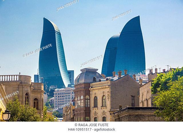 world heritage, Azerbaijan, Caucasus, Eurasia, Baku, City, Flame, Old Baku, architecture, skyline, Flame Towers, towers, travel, unesco