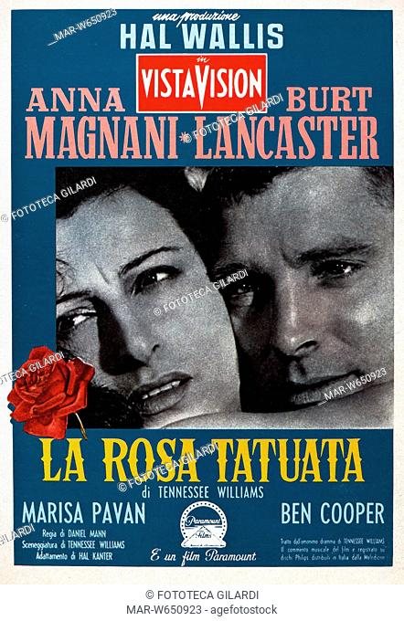 MANIFESTO per il film 'La rosa tatuata' (The Rose Tattoo) diretto da Daniel Mann e interpretato da Anna Magnani e Burt Lancaster