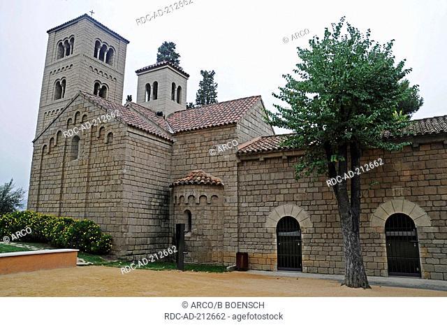Abbey, Monasterio Romanico de San Miguel, Poble Espanyole, Barcelona, Catalonia, Spain