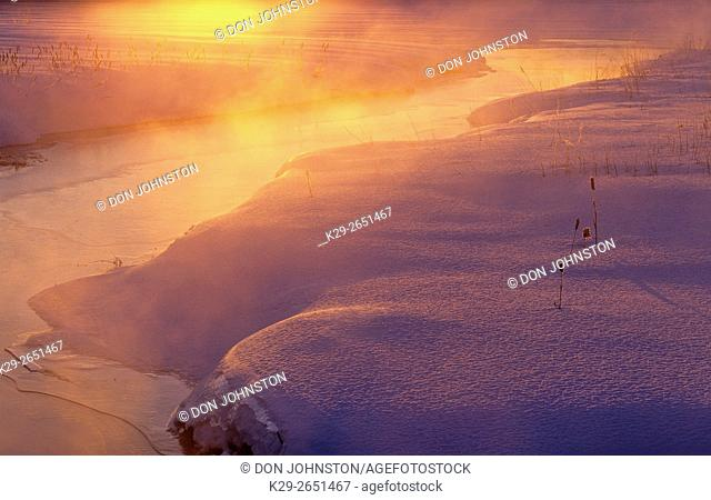Robinson Creek in mid winter at dawn, Greater Sudbury, Ontario, Canada