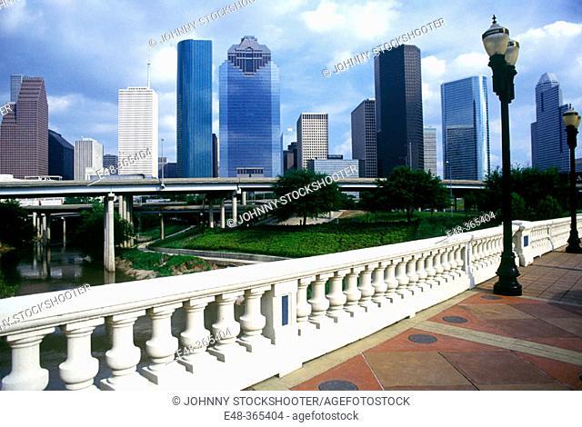 Downtown skyline, Houston. Texas, USA (october, 1993)