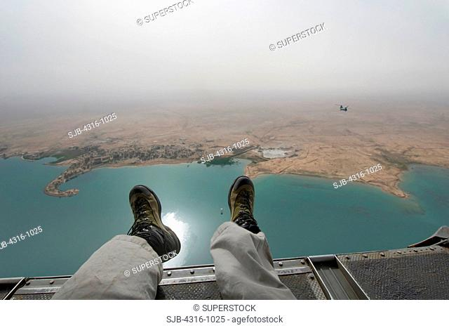 View from the Rear of a US Marine Corps CH-46 Sea Knight Helicopter of Lake Habbaniyah, West of Baghdad, Iraq