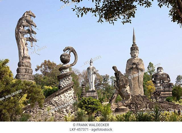 Buddhistic sculptures in Sala Kaeo Ku Park near Nong Khai on the Mekong River, Isan region, Northeast of Thailand, Asia