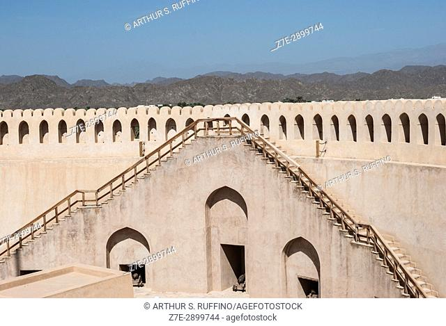 Staircase to main tower battlement, Nizwa Fort, Nizwa, Ad Dakhiliyah Governorate, Oman
