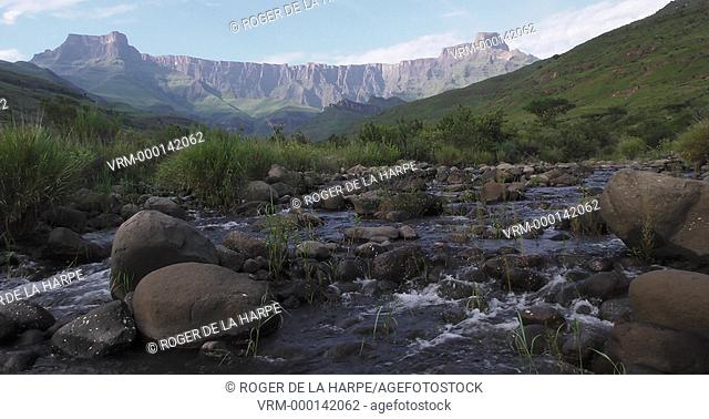 The Tugela River at Royal Natal National Park with The Amphitheatre in the background. Ukhahlamba Drakensberg Park. KwaZulu Natal. South Africa