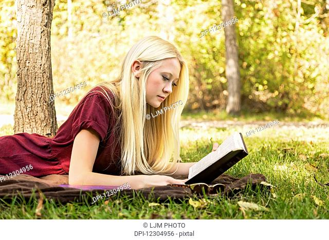 A young woman with long blond hair spending personal time in Bible study outdoors in a park in autumn; Edmonton, Alberta, Canada