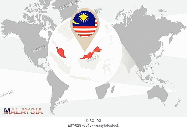 World map with magnified Malaysia. Malaysia flag and map