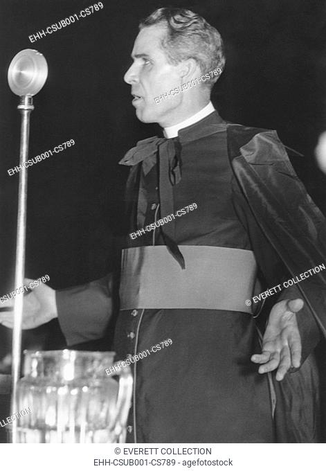 Bishop Fulton J. Sheen, theologian of Catholic University Washington, D.C. Monsignor Sheen hosted the night-time radio program, THE CATHOLIC HOUR