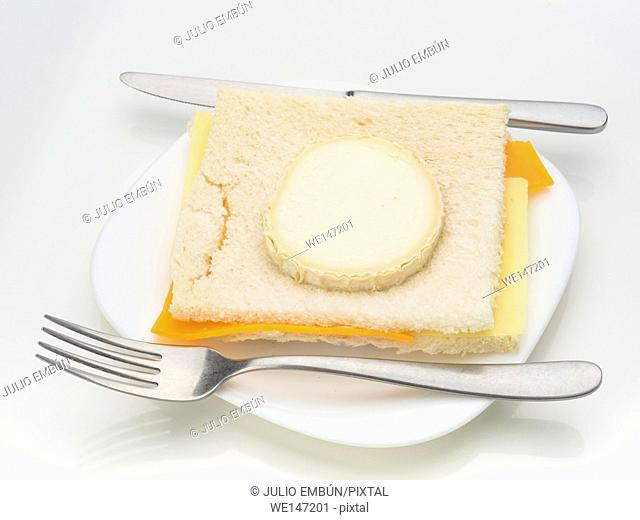 cheese sandwich ready to be baked isolated on white