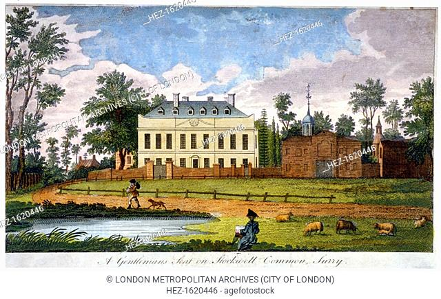 A gentleman's seat on Stockwell Common, Lambeth, London, 1792. View with sheep grazing on the right