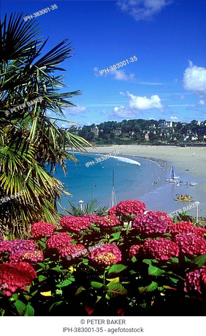 Colourful view over Perros-Guirec beach on the Cote de Granit Rose in Brittany