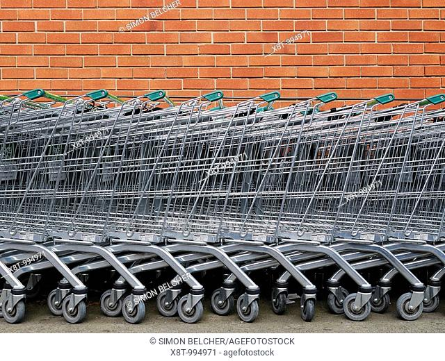 Shopping Trolleys Outside a Supermarket