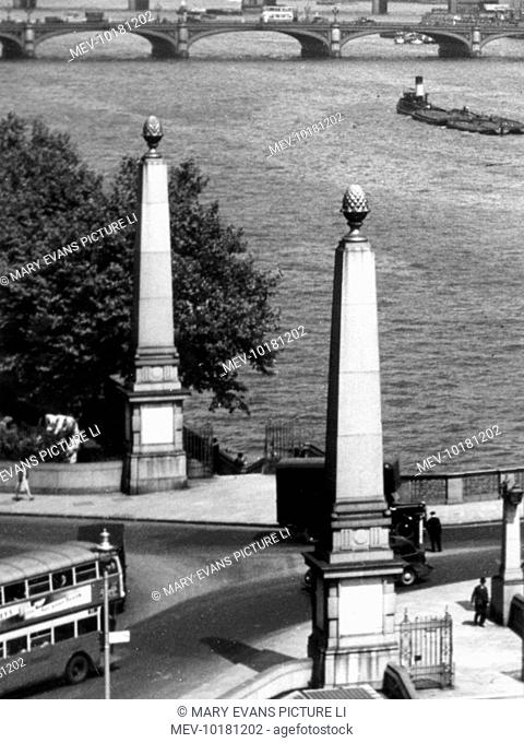The columns at each end of Lambeth Bridge, London, with their distinctive 'pineapple' embellishments. The bridge was opened by King George V on 12 July 1932
